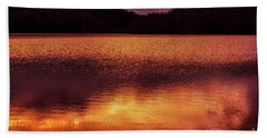 Winter Sunset Afterglow Reflection Hand Towel