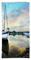 Winter Sunset At Mylor Bridge Hand Towel
