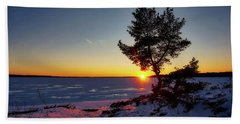 Winter Sunset Bath Towel
