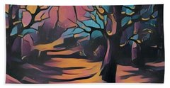 Winter Sunset Digital  Hand Towel by Megan Walsh