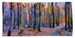 Winter Sunset In The Beech Wood Bath Towel by Menega Sabidussi