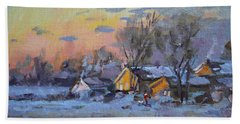 Winter Sunset In The Farm Hand Towel