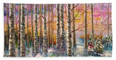 Dylan's Snowman - Winter Sunset Landscape Impressionistic Painting With Palette Knife Bath Towel