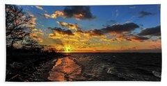 Winter Sunset On A Chesapeake Bay Beach Hand Towel