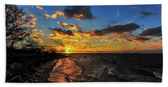 Winter Sunset On A Chesapeake Bay Beach Hand Towel