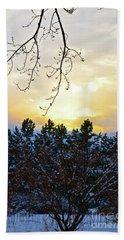 Winter Sunset On The Tree Farm #2 Bath Towel