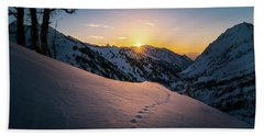 Winter Sunset Over Little Cottonwood Canyon Hand Towel