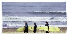 Bath Towel featuring the photograph Winter Surfers by Timothy Bulone