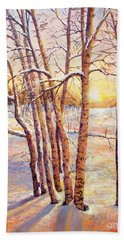 Hand Towel featuring the painting Winter Trees Sunrise by Lou Ann Bagnall