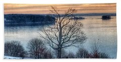 Winter Twilight At Fort Allen Park Bath Towel