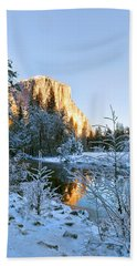 Winter View Of Yosemite's El Capitan Bath Towel
