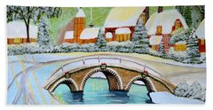 Bath Towel featuring the painting Winter Village by Magdalena Frohnsdorff