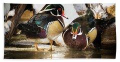Winter Visitors - Wood Ducks Hand Towel