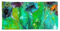 Winter Wind And Pansy Painting By Lisa Kaiser Bath Towel
