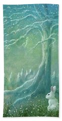 Hand Towel featuring the digital art Winters Coming by Ann Lauwers
