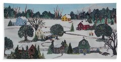Hand Towel featuring the painting Winters Last Snow by Virginia Coyle
