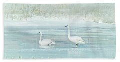 Bath Towel featuring the photograph Trumpeter Swan's Winter Rest Blue by Jennie Marie Schell