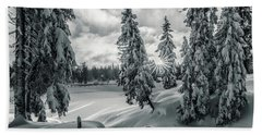 Winter Wonderland Harz In Monochrome Bath Towel by Andreas Levi