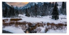 Wintery Wasatch Sunset Bath Towel