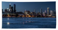 Wintry Chicago Skyline At Dusk  Hand Towel