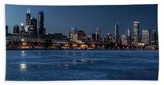 Wintry Chicago Skyline At Dusk  Bath Towel