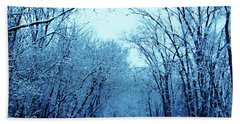 Wisconsin Frosty Road In Winter Ice Bath Towel