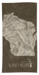 Wisconsin Map Music Notes 3 Hand Towel