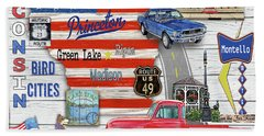 Wisconsin Road Trip Sign-square Hand Towel