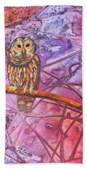 Hand Towel featuring the painting Wise One by Nancy Jolley