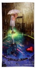 Bath Towel featuring the painting Wishing Well by Mo T