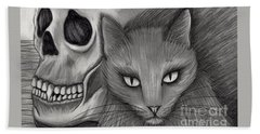 Witch's Cat Eyes Bath Towel by Carrie Hawks