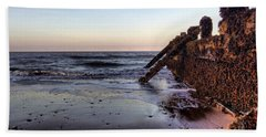 Withernsea Groynes At Sunset Hand Towel