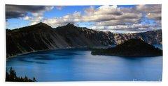 Wizard Island Stormy Sky- Crater Lake Bath Towel