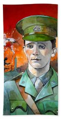 Hand Towel featuring the painting W.j. Symons Vc by Ray Agius