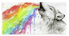 Wolf And Rainbow  Hand Towel