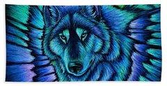 Wolf Aurora Hand Towel