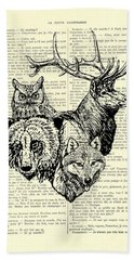 Wolf, Bear, Deer, Owl Wildlife Animals Black And White Bath Towel