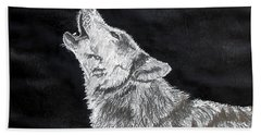 Wolf Howl Hand Towel by Stan Hamilton
