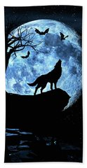 Bath Towel featuring the photograph Wolf Howling At Full Moon With Bats by Justin Kelefas