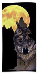 Wolf Howling At The Moon Hand Towel