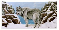 Hand Towel featuring the painting Wolf In Winter by Teresa Wing