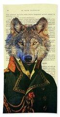 Wolf Portrait Illustration Hand Towel