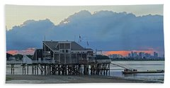 Wollaston Beach Quincy Ma Sunset Boston Skyline Quincy Ma Bath Towel