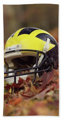 Wolverine Helmet In October Leaves Hand Towel