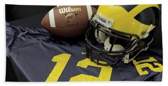 Wolverine Helmet With Football And Jersey Hand Towel