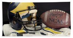 Wolverine Helmet With Jersey And Football Hand Towel