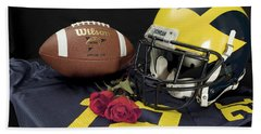 Wolverine Helmet With Roses, Jersey, And Football Bath Towel
