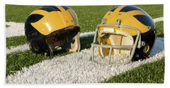 Wolverine Helmets From Different Eras On The Field Hand Towel