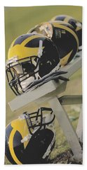 Wolverine Helmets On A Football Bench Hand Towel