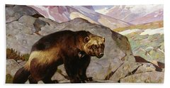 Wolverine In A Rocky Mountain Landscape, Alberta Bath Towel
